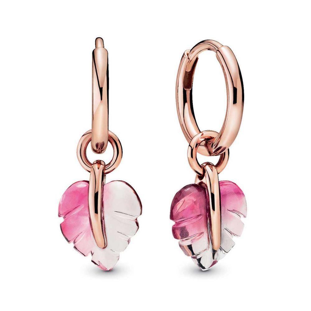 Murano Gl Leaf Hoop Earrings