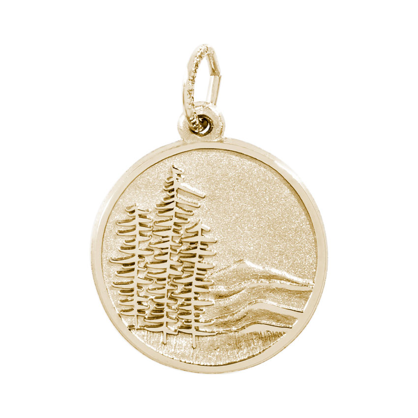 Rembrandt Mountains Charm 10k Yellow Gold Precious Accents