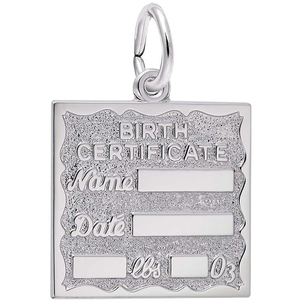 4fcf37d60 Rembrandt Birth Certificate Charm, Sterling Silver: Precious Accents ...