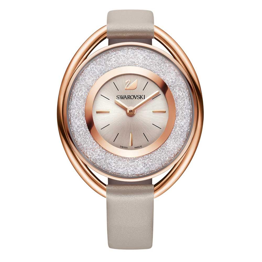 Swarovski crystalline oval rose gold tone watch precious accents