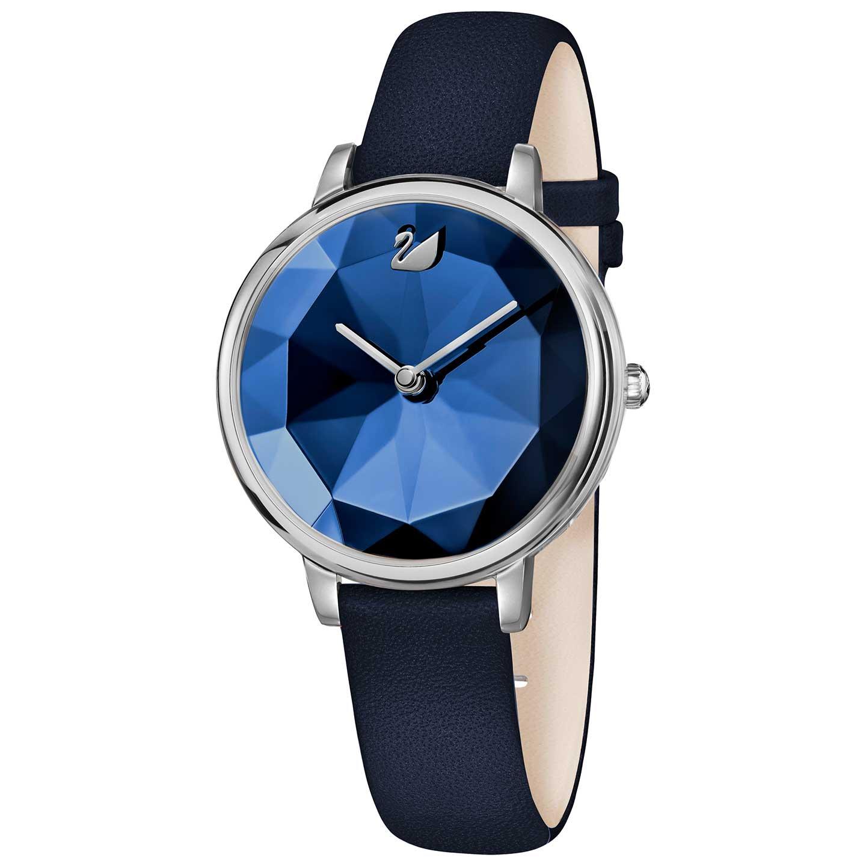 Swarovski Crystal Lake Watch, Leather strap, Blue, Silver tone