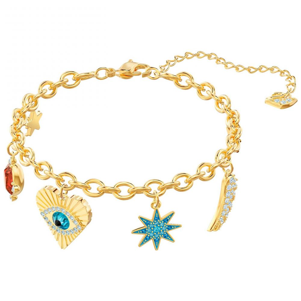 Wind and Fire Love Letter S Gold Finish Charm Bangle