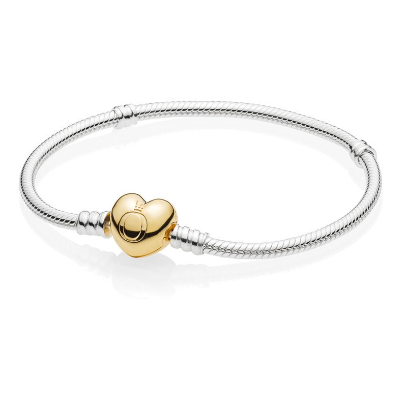7349afbee ... PANDORA Sterling Silver Bracelet with PANDORA Shine™ Heart Clasp. Tap to  expand