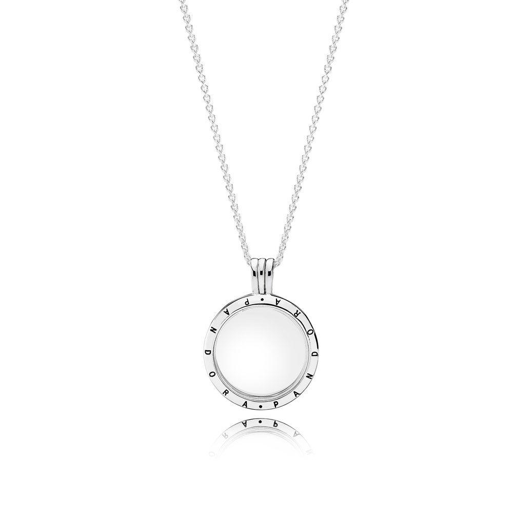 Pandora floating locket necklace medium sapphire crystal glass hover to zoom aloadofball Gallery