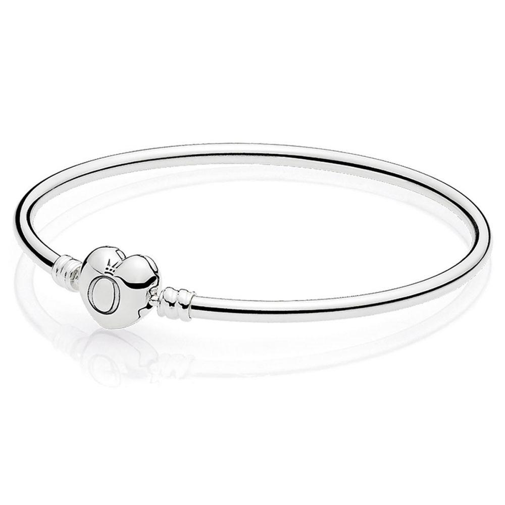the best shopping shoes for cheap Pandora Moments Silver Bangle Bracelet, Logo Heart Clasp: Precious ...