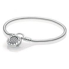 604df6855 PANDORA Sterling Silver Smooth Bracelet with PANDORA Signature Padlock  Clasp, Clear CZ