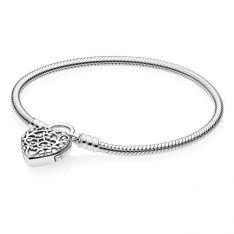 3955e3307 PANDORA Smooth Silver Padlock Bracelet, Regal Heart