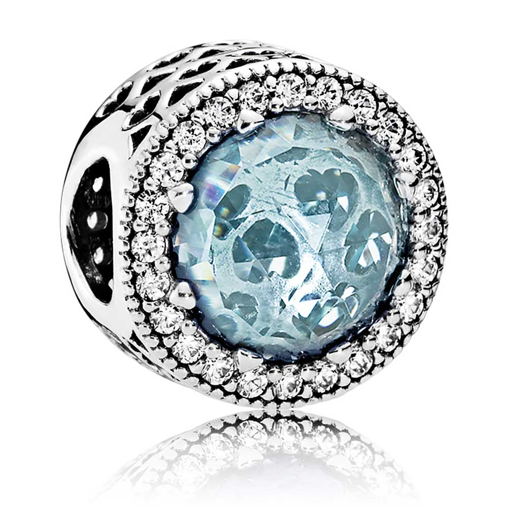 f765455c1 ... Silver Charms/; PANDORA Radiant Hearts Charm, Glacier-Blue Crystals & Clear  CZ. Tap to expand