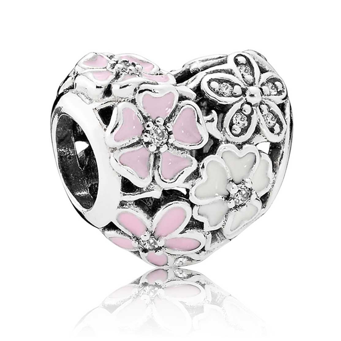 Pandora Earrings Heart: PANDORA Poetic Blooms Heart Charm: Precious Accents, Ltd