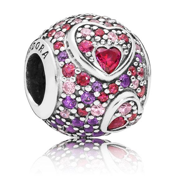 7b5a57ed7 PANDORA Asymmetric Hearts of Love Charm, Red & Pink CZ, Royal Purple ...
