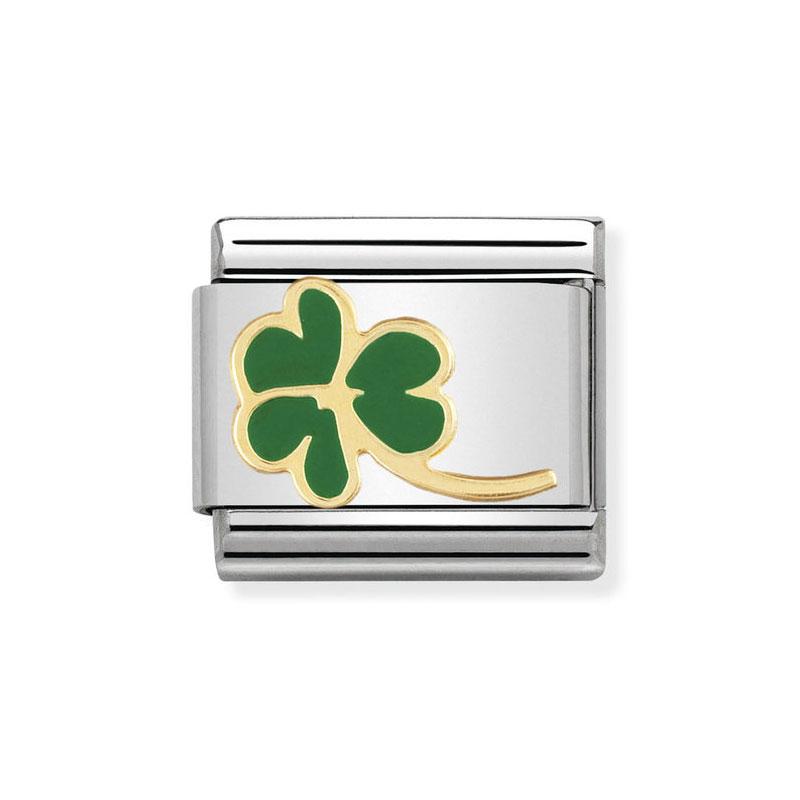 6c3501811701 Nomination 3 Leaf Clover with Stem Green Classic Enamel Italian ...