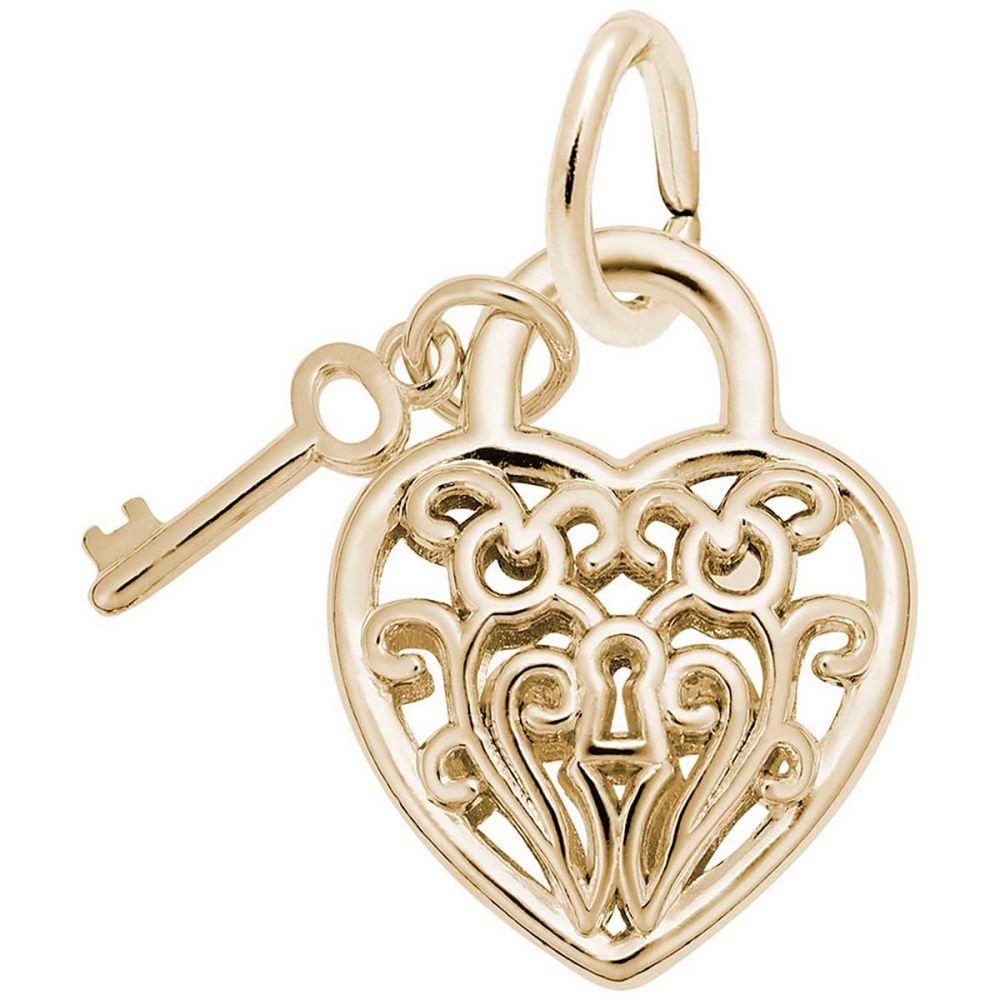 10K Yellow Gold Heart /& Key Charm