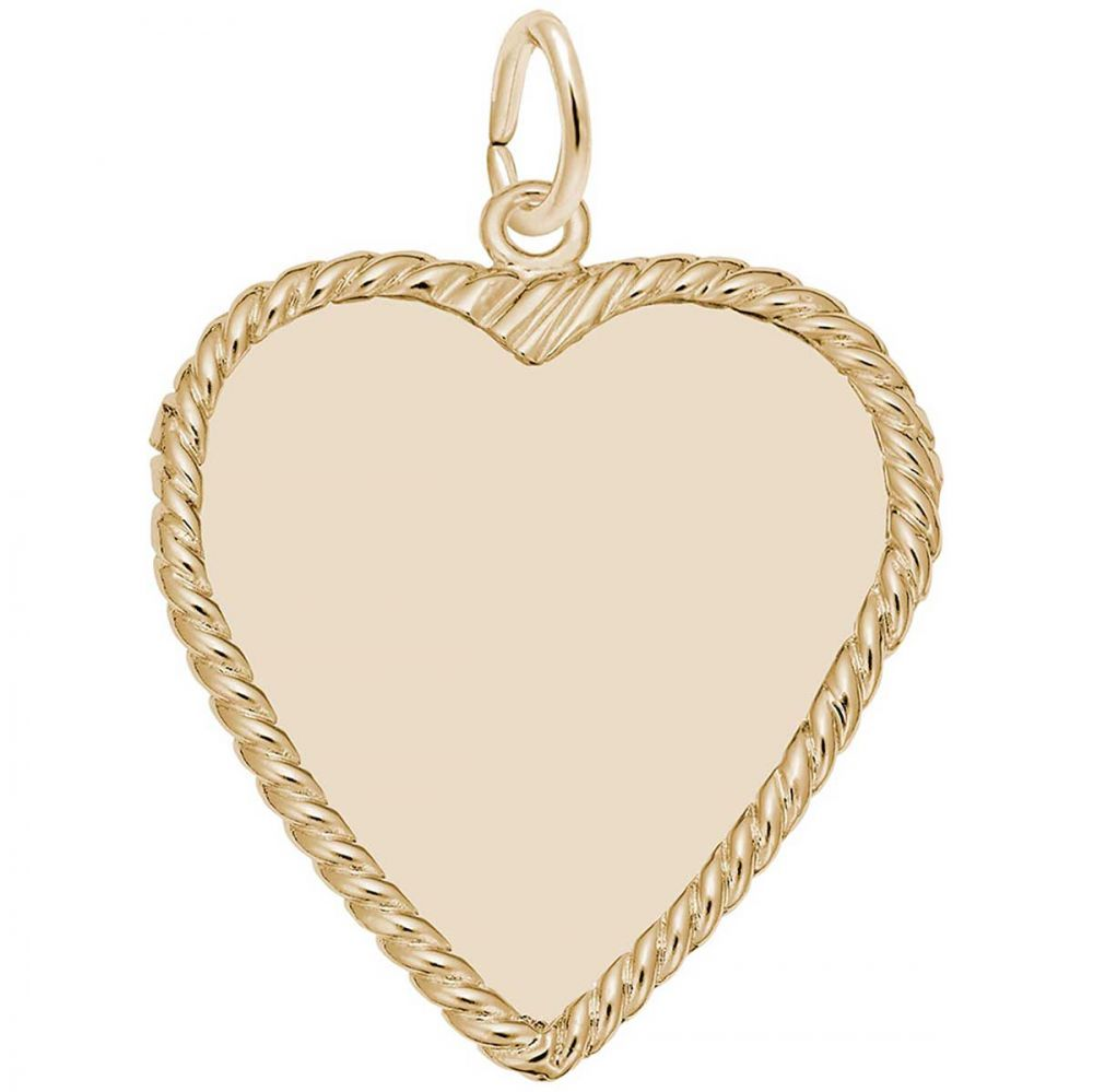 14k Yellow Gold Heart Disc Charm