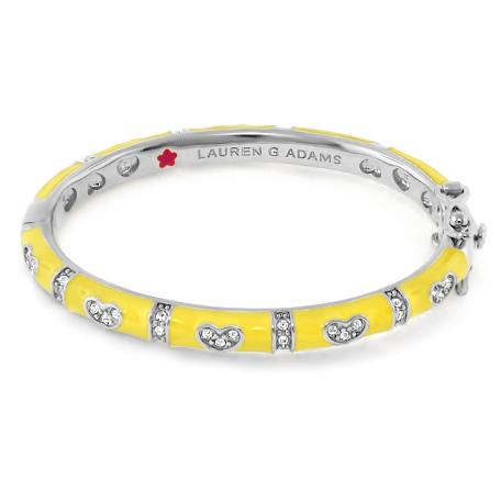 Lauren G Adams Girls Rhodium-Plated Pave Heart Charm Bracelet