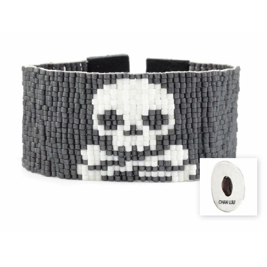 Chan Luu Skull Cuff Black Leather Bracelet
