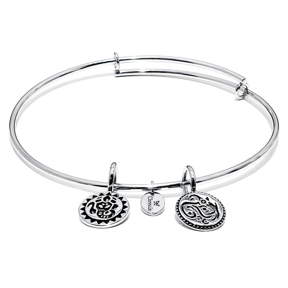 Chrysalis Lucky Ganesh Expandable Bangle Bracelet in Rhodium-Plated Brass