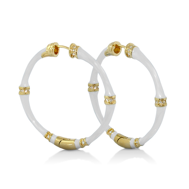 Lauren G Adams Bamboo Gold Hoop Earring With White Enamel