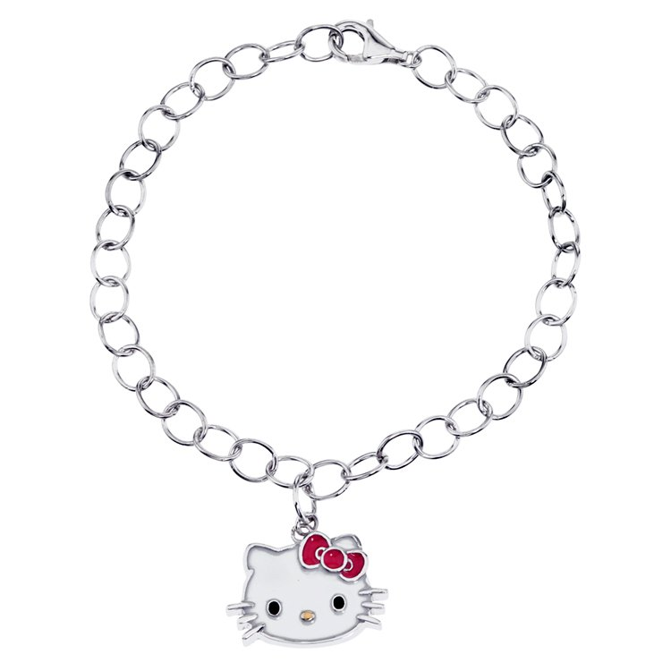 21851ae50 ... Hello Kitty Sterling Silver Pink Enamel Charm Bracelet. Tap to expand