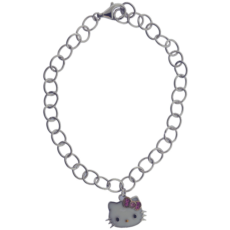 13d31fd97 ... Hello Kitty Sterling Silver Pink Crystal Charm Bracelet. Tap to expand
