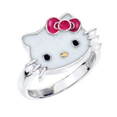 55e305ac1 Hello Kitty Sterling Silver Pink Enamel Ring - Size 7