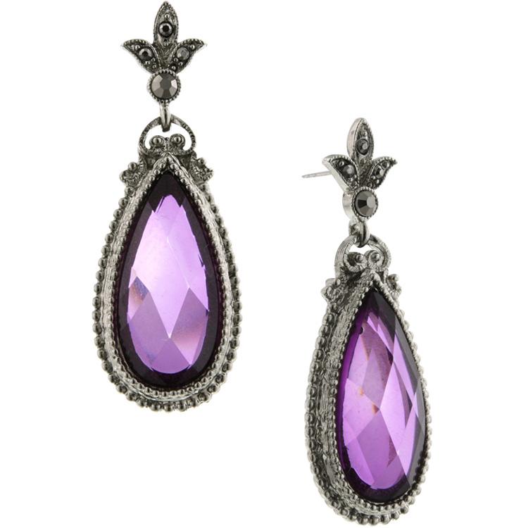 1928 Jewelry Morado Jewel Amethyst Teardrop Earrings