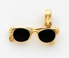 Quality Gold Enamel Sunglasses Charm 14K Yellow Gold