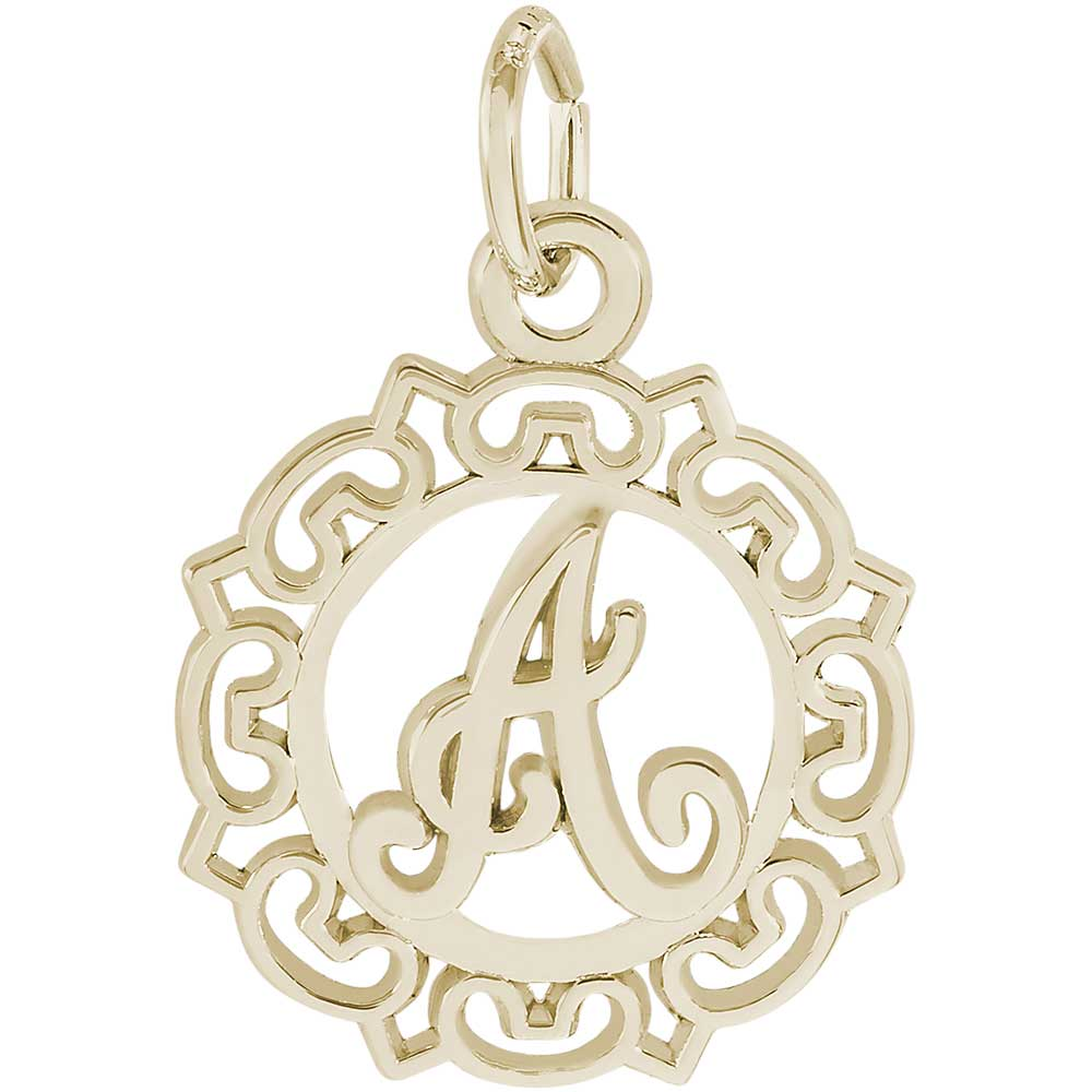 Rembrandt a z initials charm gold plated silver precious accents