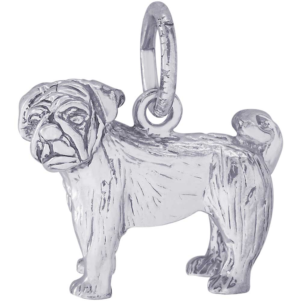Rembrandt Pug Charm Sterling Silver Precious Accents Ltd