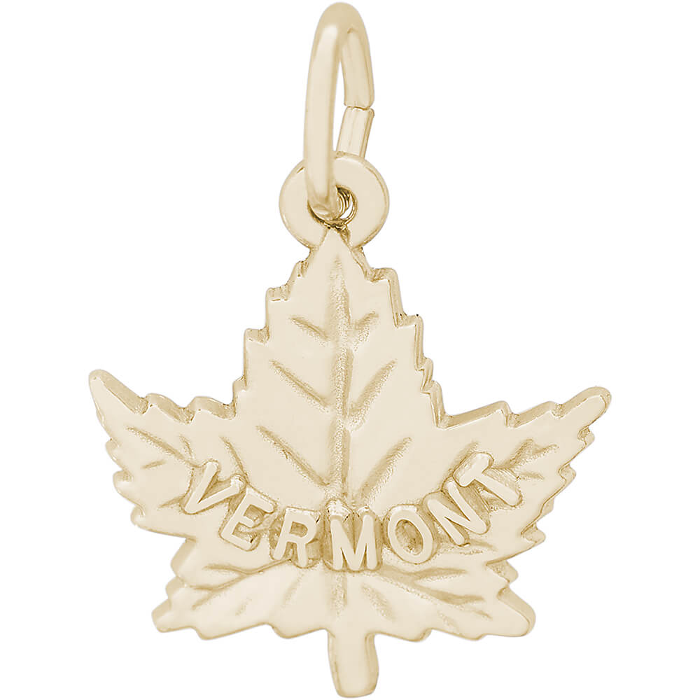 rembrandt vermont maple leaf charm gold plated silver