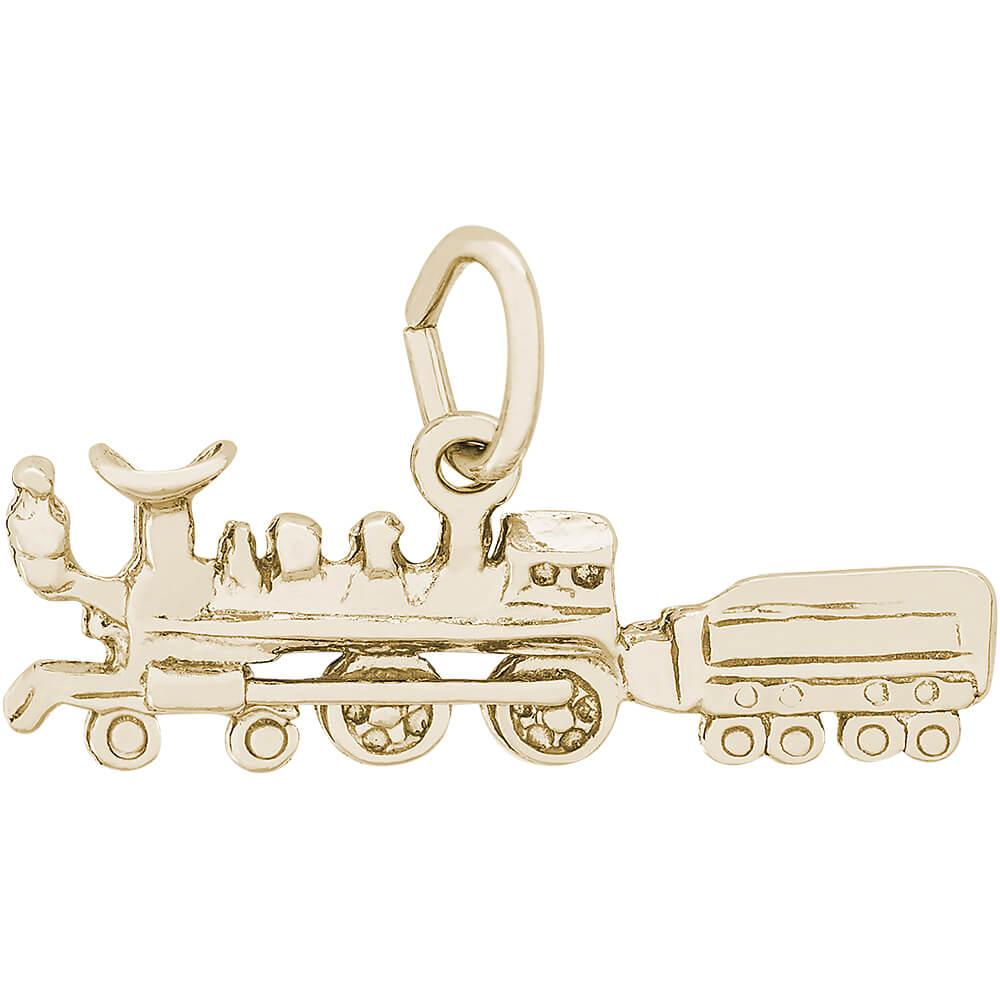 Rembrandt train charm gold plated silver precious accents ltd