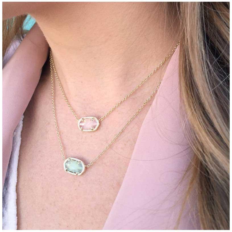 Kendra scott elisa gold pendant necklace in rose quartz precious kendra scott elisa gold pendant necklace in rose quartz precious accents ltd aloadofball Images