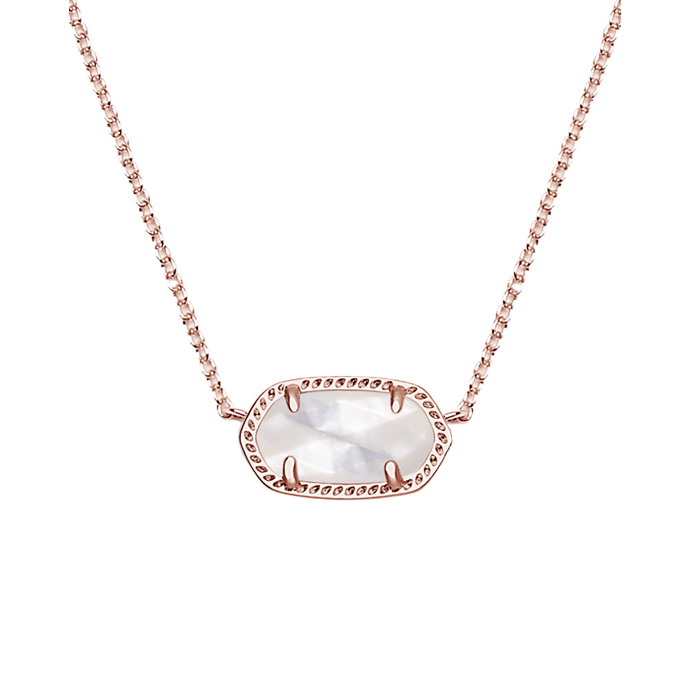 a3ceda9ae3da4 Kendra Scott Elisa Rose Gold Pendant Necklace in Ivory Pearl