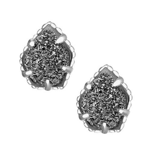 7599fb3d4 ... Kendra Scott Tessa Silver Stud Earrings in Platinum Drusy. Tap to expand